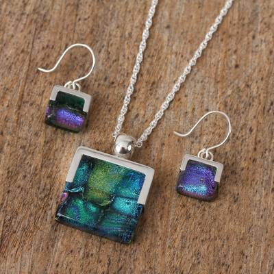 Art glass jewelry set, 'Luminous' - Handcrafted Modern Glass Pendant Jewelry Set