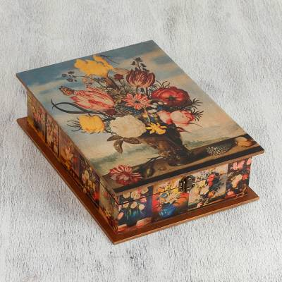 Decoupage jewelry box, 'Floral Magic' - Floral Wood Jewelry Box with Mirror