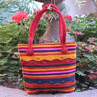 Wool tote handbag Zapotec Sierra Mexico