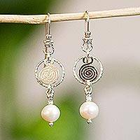 Pearl dangle earrings, 'Popocateptl Snow' - Unique Mexican Taxco Silver and Pearl Earrings