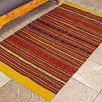 Zapotec wool rug, 'Harmony' (2.5x5) - Hand Crafted Zapotec Orange Wool Area Rug (2.5x5)