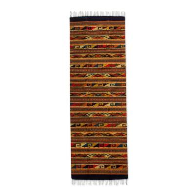 Zapotec wool rug, 'Life in Oaxaca' (2.5x10) - Zapotec wool rug (2.5x10)