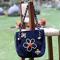 Wool shoulder bag, 'Zapotec Blue' - Wool shoulder bag