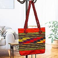 Wool tote handbag Zapotec Lightning Mexico
