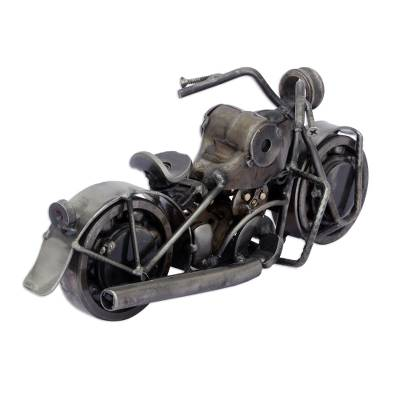 Handmade Chopper Recycled Metal Motor Cycle Sculpture
