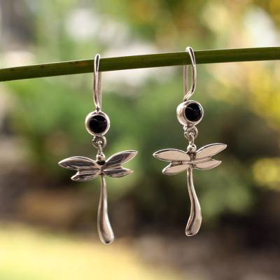 Onyx dangle earrings, 'Dragonfly Mystery' - Unique Women's Sterling Silver Onyx Earrings from Mexico