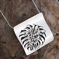 Sterling silver pendant necklace, 'Leaf Fossil'