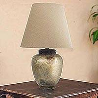 Ceramic table lamp, 'Sands of Light' - Handcrafted Beige Ceramic Table Lamp and Shade from Mexico