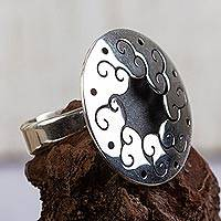 Sterling silver flower ring, 'Magical Moon' - Sterling silver flower ring