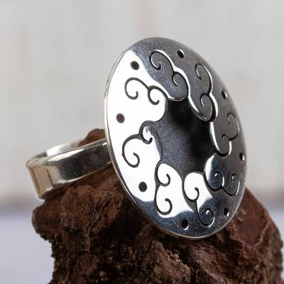 promise rings tungsten - Sterling silver flower ring