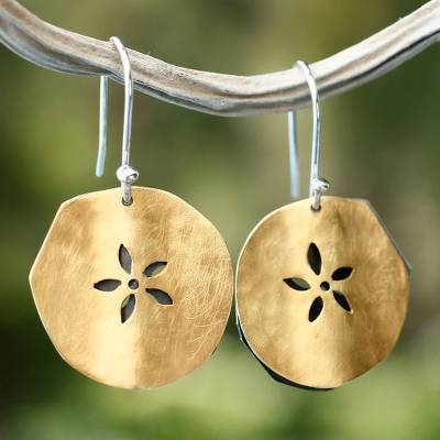 Gold plated dangle earrings, Fossil Flower