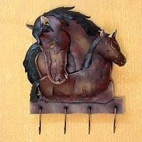 Iron coat rack, 'Horse Mom Love' - Unique Steel Horsees Coat and Key Holder