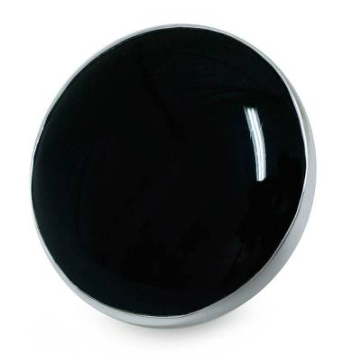 Mexican Fine Silver Cocktail Obsidian Ring