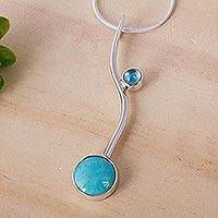Turquoise and blue topaz pendant necklace, 'Taxco Eclipse' - Collectible Taxco Silver Natural Turquoise Necklace