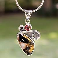 Garnet pendant necklace, 'Aztec Gargoyle' - Handcrafted Modern Silver Calcite Obsidian Necklace