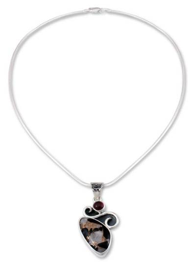 Handcrafted Modern Silver Calcite Obsidian Necklace