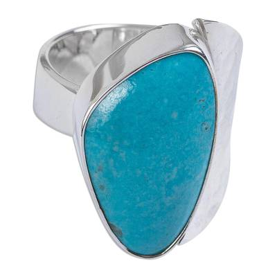 Unique Taxco Silver Cocktail Natural Turquoise Ring