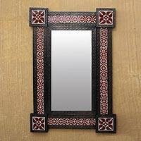 Tin and ceramic wall mirror, 'Colonial Crimson' (large) - Large Wall Mirror Tin and Ceramic Colonial Style from Mexico