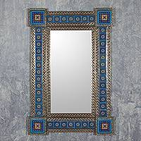 Tin and ceramic wall mirror, 'Hacienda Blue' (large) - Large Hand Crafted Talavera Ceramic Mexican Tin Mirror Blue