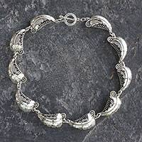 Silver link necklace, 'Wild Leaves' - Taxco Jewelry Hand Crafted Silver Link Necklace