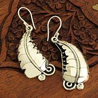 Silver dangle earrings, Wild Leaves