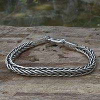 Sterling silver braided bracelet, 'Braids' - Sterling silver braided bracelet