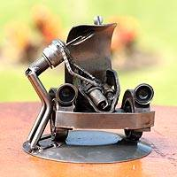 Auto parts sculpture, 'Rustic Car Mechanic' - Fair Trade Metal Car and Driver Sculpture