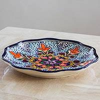 Ceramic serving plate, 'Wilderness' - Brilliant Multicolored Talavera Ceramic Platter