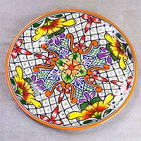 Ceramic serving plate, 'Happy Tradition' - Talavera-Style Ceramic Serving Plate