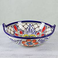 Ceramic bowl, 'Marigold Mosaic' - Hand Crafted Mexican Talavera Style Serving Bowl
