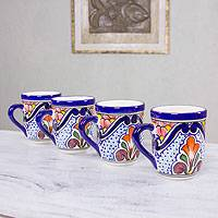 Ceramic mugs, 'A Taste of Mexico' (set of 4) - Talavera Style Mugs Set of 4 Hand Crafted in Mexico