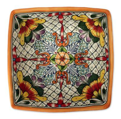 Ceramic bowl, 'Happy Tradition' - Fair Trade Talavera Style Serving Bowl Majolica Serveware