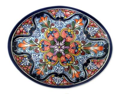 Ceramic serving plate, 'A Taste of Mexico' - Handmade Talavera Style Platter Serveware from Mexico