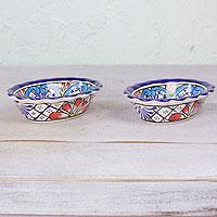 Ceramic bowls, 'Daisy Stars' (pair) - Pair of 5 oz Talavera Style Bowls Handmade in Mexico