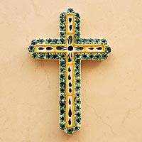 Majolica ceramic cross, 'Hope' - Hand Made Religious Ceramic Cross