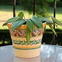 Majolica ceramic flower pot, 'Sayula' - Artisan Crafted Ceramic Garden Decor Outdoor Living
