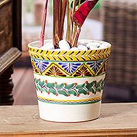 Majolica ceramic flower pot,