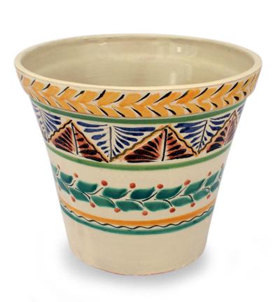 Artisan Crafted Ceramic Garden Decor Outdoor Living, 'Sayula'