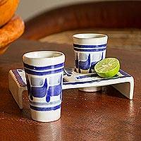 Majolica ceramic tequila glasses, 'Blue Agave' (set for 2) - Majolica Tequila Glasses Set For 2 Ceramic Handmade Mexico