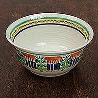Majolica ceramic serving bowl, 'Acapulco' - Authentic Mexican Majolica Ceramic Bowl Dinnerware