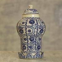 Ceramic jar, 'Path to Puebla' - Authentic Mayolica Ceramic Vase and Lid from Mexico