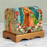 Decoupage box, 'Guadalupe' - Virgin Mary Handcrafted Decoupaged Wood Box Mexico