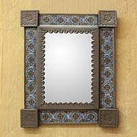 Tin and ceramic wall mirror, 'Colonial Garland' (small) - Small Ceramic Tiled Wall Mirror Handmade Tin from Mexico