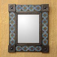 Tin and ceramic wall mirror, 'Talavera Marigold' (medium) - Medium Mexican Handcrafted Floral Wall Mirror Ceramic Tiles
