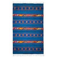 Zapotec wool rug, 'Warrior Life' (4x6.5) - Mexican Zapotec Blue Wool Area Rug (4x6.5)
