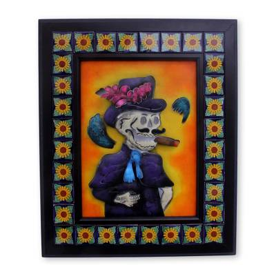 Artisan Crafted Day of the Dead Ceramic Steel Wall Art