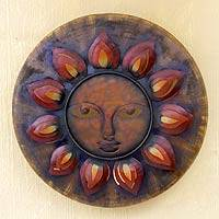Iron wall adornment, 'Welcoming Sun' - Iron wall adornment