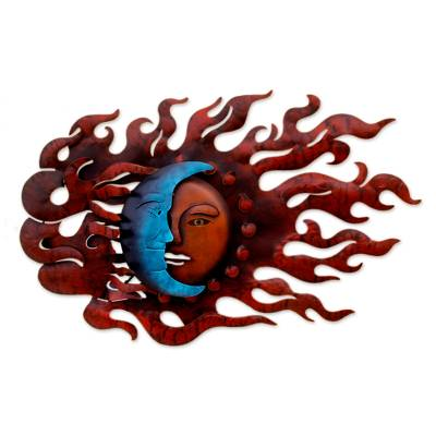 Iron wall adornment, 'High Wind Eclipse' - Fair Trade Sun and Moon Steel Wall Art