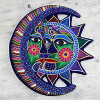 Ceramic wall adornment, 'Eclipse of Love' - Unique Sun and Moon Ceramic Wall Art