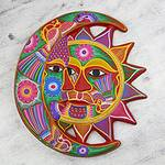Handmade Sun and Moon Ceramic Wall Art, 'Blossoming Eclipse'